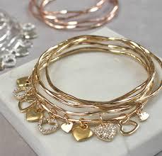 heart charm bangle bracelet images Personalised diamante heart charm bangle set by jamie london jpg