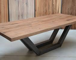Wooden Coffee Table Legs Reclaimed Wood Coffee Table Steel Base Industrial Table