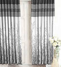 Premium Curtains Buy Black Jacquard Premium Door Curtain Set Of 2 By Cortina