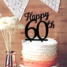60 cake topper happy 60th cake topper 60 years anniversary cake topper leave