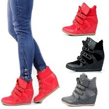 womens boots velcro womens shoes high top wedge sneakers high heel lace up stud velcro