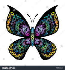 vector color tattoo butterfly illustration stock vector 281852174