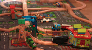 thomas the tank engine table top brio train track high speed set up staring diesel from thomas the