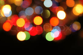 christmas background with color lights of xmas tree stock photo
