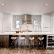 modern white kitchen with wood island room image and wallper 2017