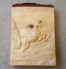 carved magical rearing unicorn pony live edge cedar wooden
