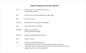 wedding reception itinerary 26 wedding itinerary templates free sle exle format