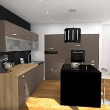 plan central cuisine meuble de cuisine taupe avec ilot de cuisine noir mat plan de