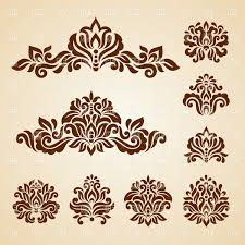 set of ornamental graphic flowers vector clipart image 29031