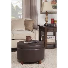 Brown Storage Ottoman Homepop Large Round Chocolate Brown Storage Ottoman Free