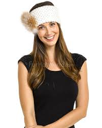 knit headband knit headband with fox fur in ivory furhatworld