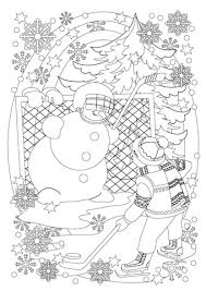 boy snowman play hockey coloring free printable