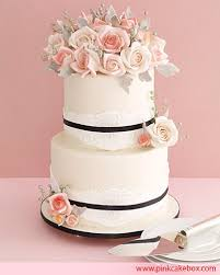 one stop wedding wedding cake with pink roses