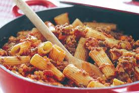 bologna cuisine rigatoni a la bolognaise from bologna region of emilia romagna