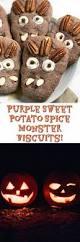 vegan halloween treat purple sweet potato spice monster biscuits