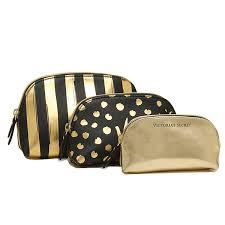victoria s secret bag victorias secret 343831 3hm beauty bag trio makeup bag black gold