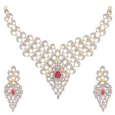 necklace diamond gold images Buy zeneme gold plated american diamond necklace set jewellery jpg