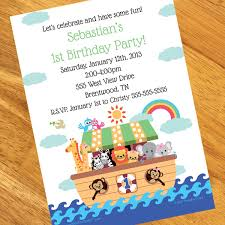 noah s ark 1st birthday personalized invitations