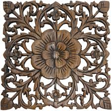 Antique Wood Wall Decor Wood Plaque Oriental Carved Lotus Rustic Wall Decor Hand Carved