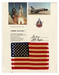 lot detail space flown u s flag from the columbia sts 1 mission