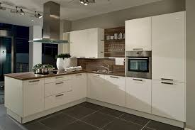 Polished Laminate Flooring High Gloss White Kitchen With Dark Wood Laminate Worktop