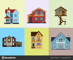 houses front view vector illustration building architecture home