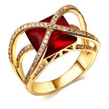 red stones rings images Big cross design women red green or white cubic zirconia luxury jpg