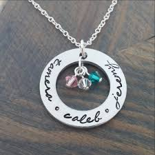 Kids Names Necklace Personalized Necklace With Kids Names And Birthstones Gracefully