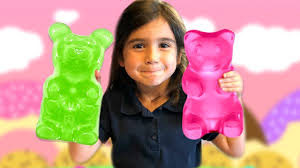 kids eat giant gummy bear candy diy recipe for children youtube