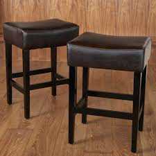 Leather Bar Chair Furniture Tufted Leather Bar Stool Backless Counter Height
