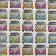 Multi Coloured Upholstery Fabric Retro Vw Camper Van Car Multi Coloured Childrens Cushion Blind