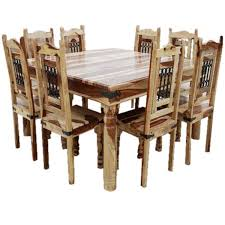 solid wood large square dining table u0026 chair set for 8 people