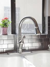 Kitchen Sink Backsplash Metallic Subway Tile Backsplash Luxury Faucet White Double Bowl