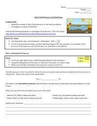 static fluid pressure and fluid flow worksheet