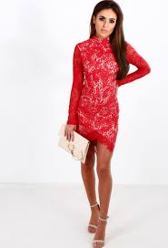 wild roses red lace long sleeve mini dress pink boutique