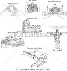 eps vectors of the modern seven wonders of the world sketch