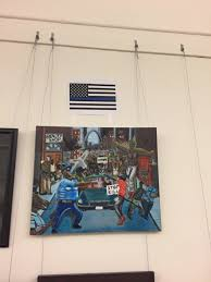 Flag Capital We Go High Thin Blue Line Flag Hung Above Capital Painting