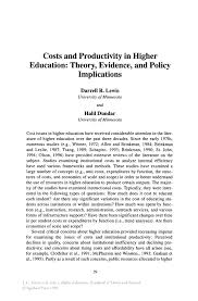 costs and productivity in higher education theory evidence and