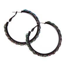 black hoop earrings metallic rainbow chain black hoop earrings icing ca
