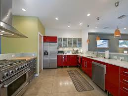 white cabinets and red countertops scandinavian kitchen red