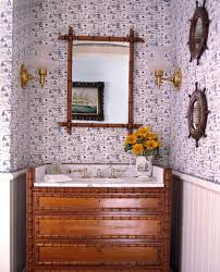 gold bamboo mirror powder room contemporary with vessel sink