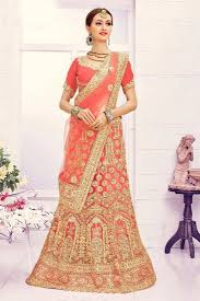 buy wedding wear peach color 3 piece lehenga choli in net fabric