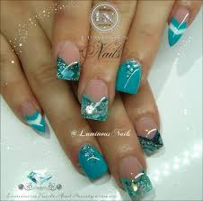 turquoise and silver nail designs