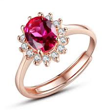 zirconia stone rings images Red stone rings for women adjustable cubic zirconia mid finger jpg
