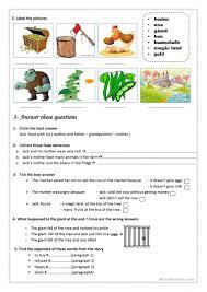 jack and the beanstalk worksheet free esl printable worksheets