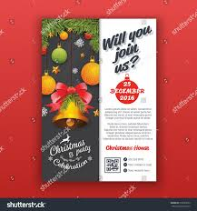 Sample Invitation Card For Christmas Party Party Poster Template Realistic Balls Bell Stock Vector 512089222