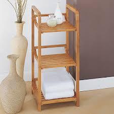 bathroom storage shelf bamboo linen tower rack organizer 3 tier