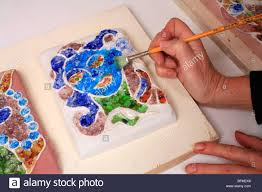 artist painting glass mosaic ceramic handmade decorative wall tiles stock image