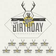 retro vintage style birthday greeting card collection in
