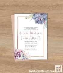 Succulent Wedding Invitations Succulent Wedding Invitation Greenery And Rose Gold Geometric